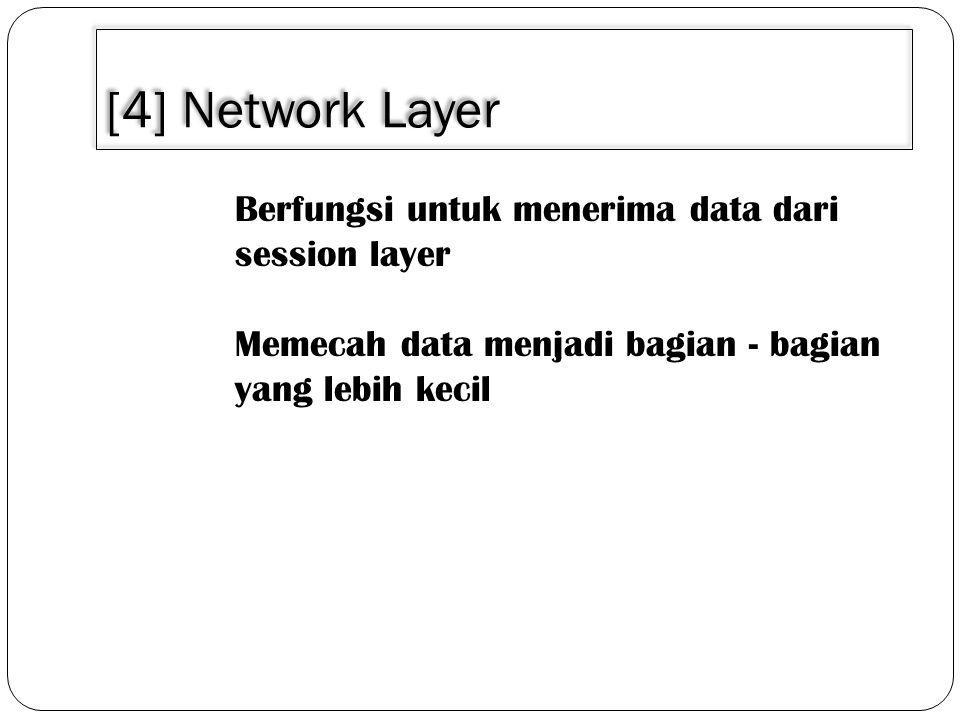 [4] Network Layer Berfungsi untuk menerima data dari session layer